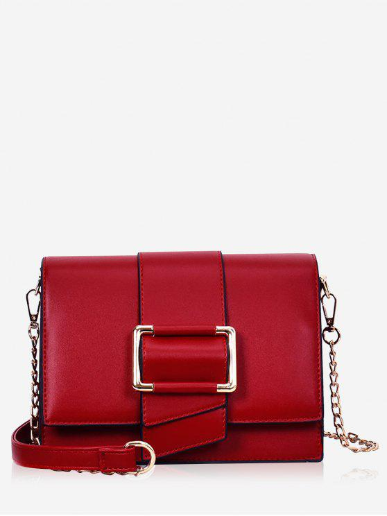 unique Buckled Minimalist Casual Crossbody Bag - RED