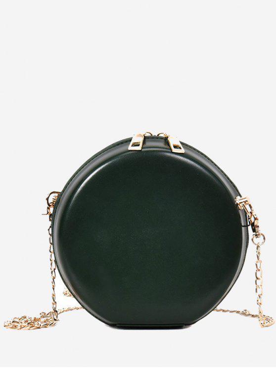 Caso difícil forma redonda mini saco crossbody - Verde de Floresta Escura