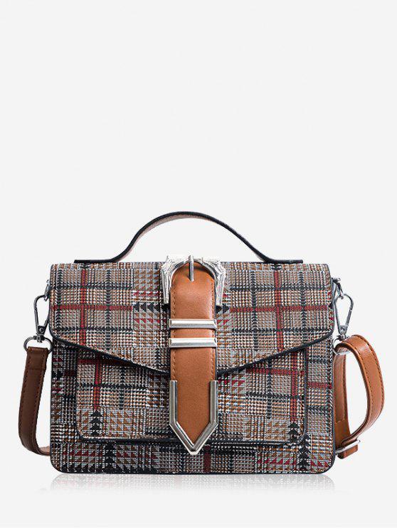 Fivela metálica Crossbody Bag com alça - Castanho