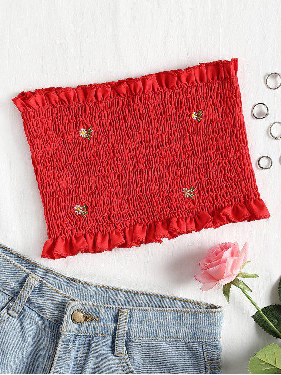 hot Floral Patched Smocked Bandeau Top - RED S