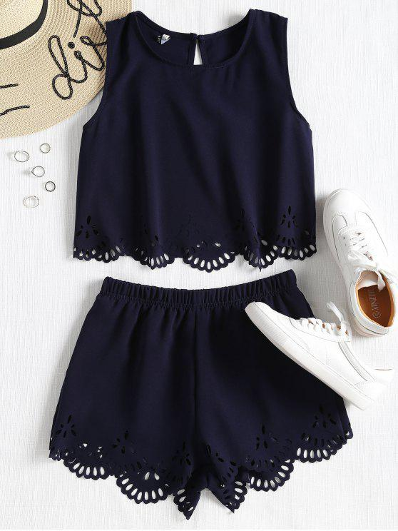 shops Sleeveless Laser Cut Top and Shorts Set - MIDNIGHT BLUE S