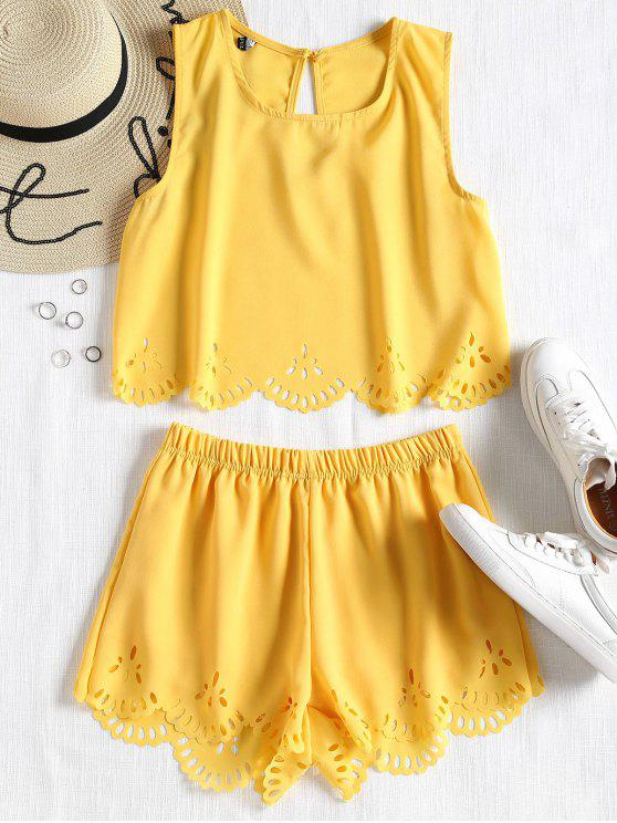 new Sleeveless Laser Cut Top and Shorts Set - YELLOW L