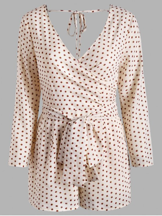 hot Printed Long Sleeve Pocket Surplice Romper - PEARL S