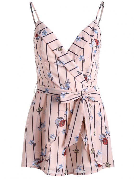shop Stripe Floral Print Belted Cami Romper - PEARL S