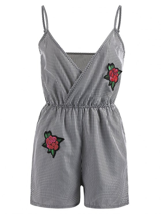 chic Embroidered Patched Gingham Romper - BLACK XL