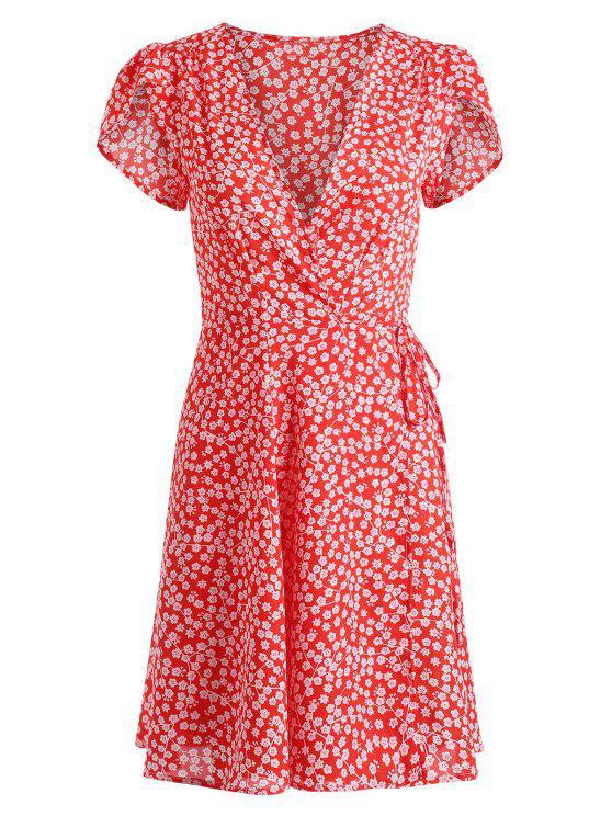 fashion Tiny Floral Wrap Mini Dress - RED L