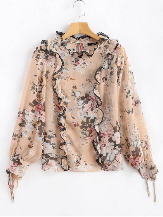 fancy Frilled Floral Print Sheer Chiffon Blouse - PINK XL