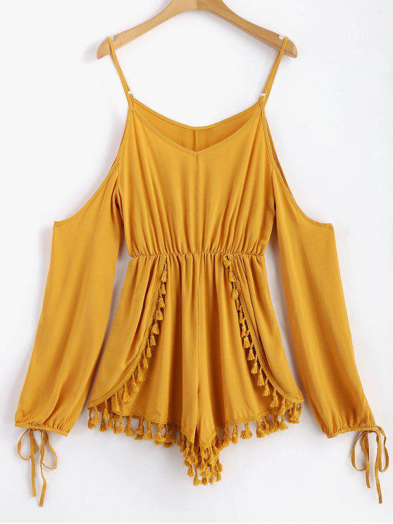 online Layered Tassels Cold Shoulder Romper - ORANGE GOLD L
