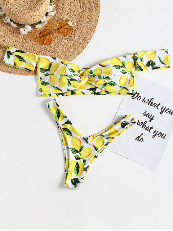 lady Off Shoulder Lemon Twist High Cut Bikini - WHITE L