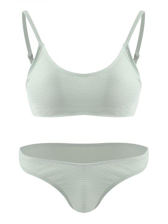 chic Ribbed Bralette Cheeky Bikini Set - PALE GREEN M