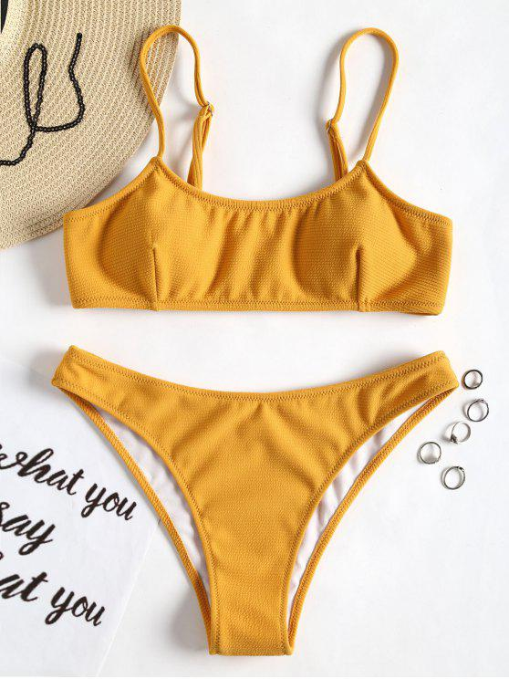Spaghetti Riemchen Gerippter Texture Bikini - Ingwer-Gelb S