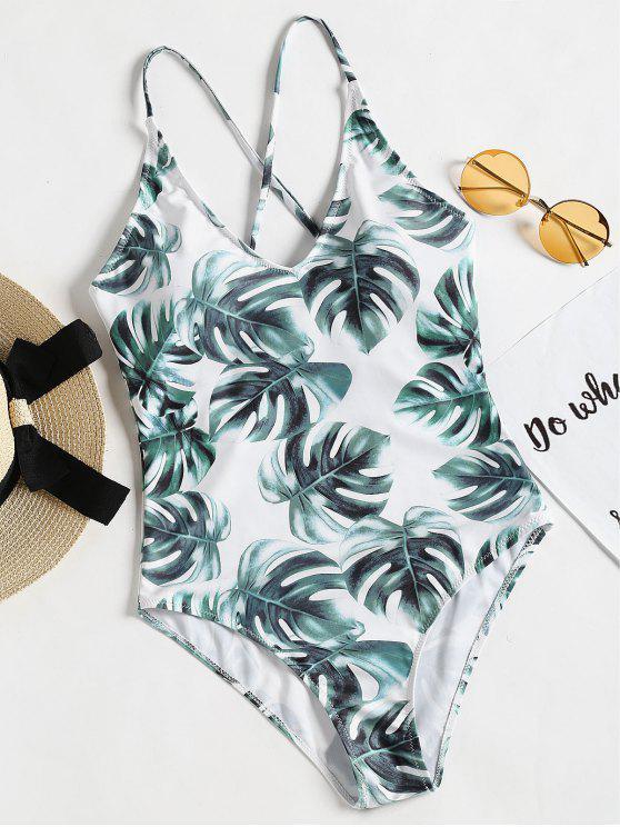Traje de baño de espalda cruzada con espalda cruzada de Palm Leaf - Blanco S