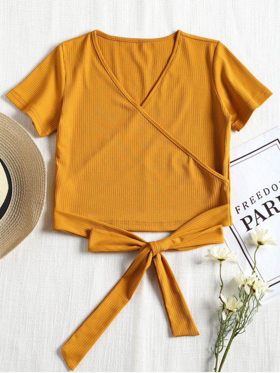unique Short Sleeve Ribbed Faux Wrap Tee - MUSTARD S
