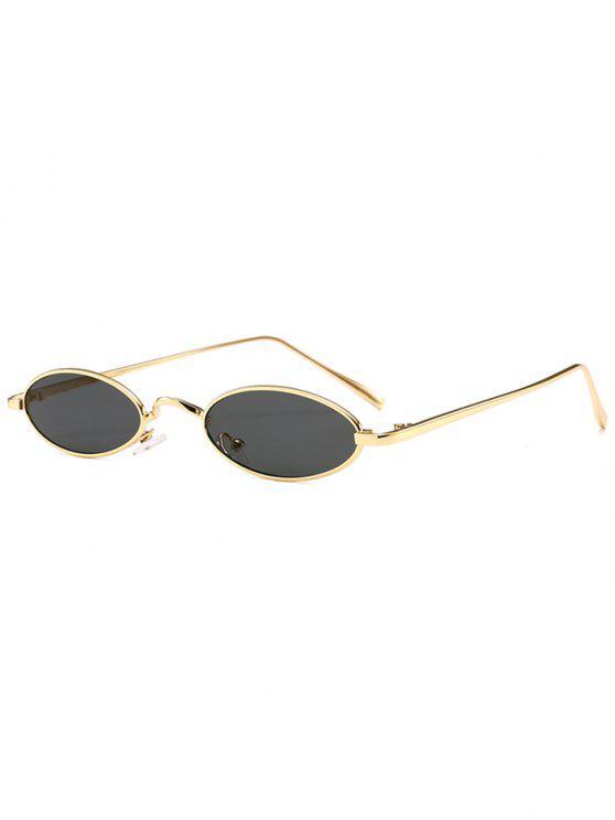 Gafas de sol ovales de marco completo de metal único - Dorado + Gris