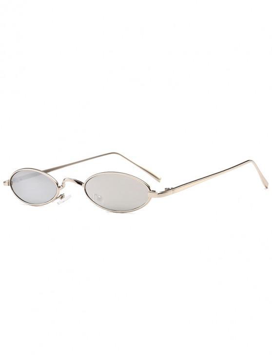 trendy Unique Metal Full Frame Oval Sunglasses - REFLECTIVE WHITE COLOR
