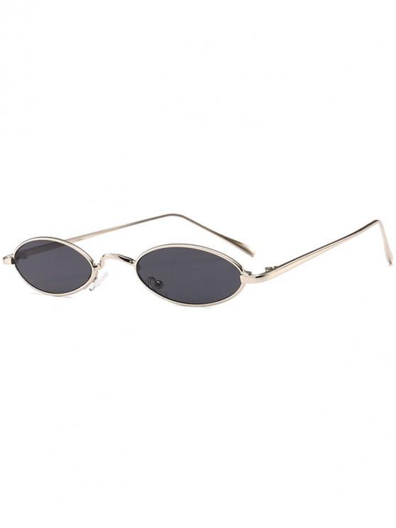 unique Unique Metal Full Frame Oval Sunglasses - SILVER FRAME+GREY LENS