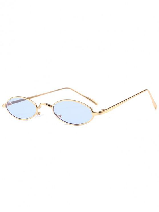 unique Unique Metal Full Frame Oval Sunglasses - LIGHT BLUE