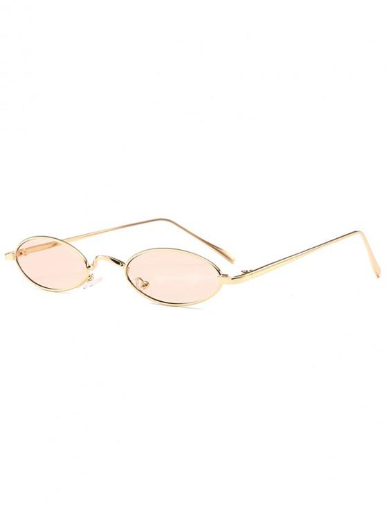 chic Unique Metal Full Frame Oval Sunglasses - NUDE PINK