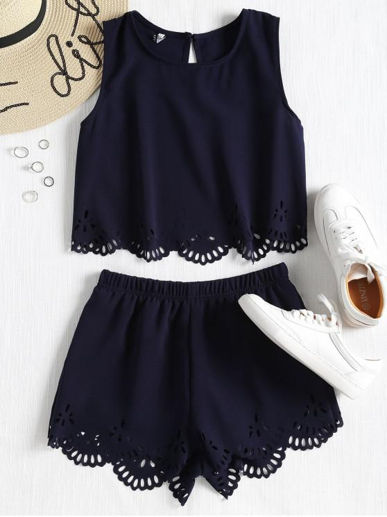 outfits Sleeveless Laser Cut Top and Shorts Set - MIDNIGHT BLUE L
