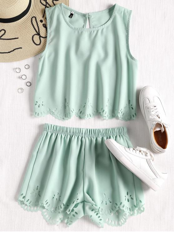 chic Sleeveless Laser Cut Top and Shorts Set - LIGHT GREEN L