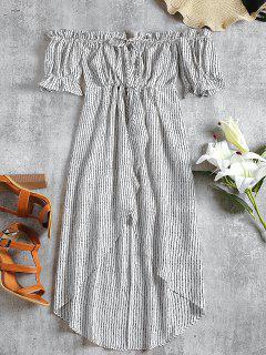 Vestido De Crepé A Rayas Con Hombros Descubiertos - Blanco L