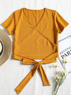 Short Sleeve Ribbed Faux Wrap Tee - Mustard M