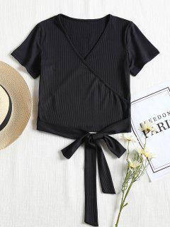 Short Sleeve Ribbed Faux Wrap Tee - Black M