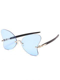 Anti UV Rimless Pearl Butterfly Sunglasses - Light Blue