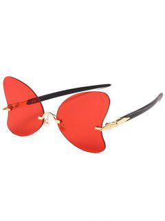 Anti UV Rimless Pearl Butterfly Sunglasses - Bright Red