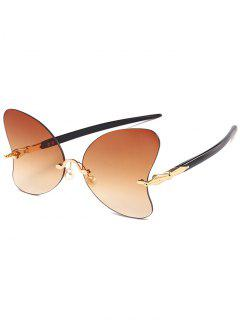 Anti UV Rimless Pearl Butterfly Sunglasses - Tea-colored