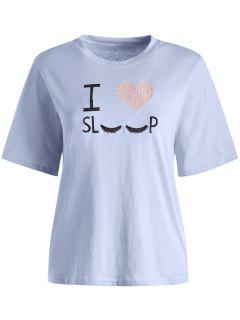 I Love Sleep Embroidered Graphic Tee - Blue Angel