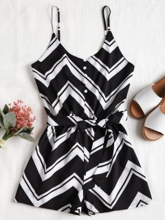 Buttoned Zigzag Print Cami Romper - Black Xl