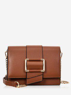 Buckled Minimalist Casual Crossbody Bag - Brown