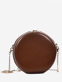 Hard Case Round Shape Mini Crossbody Bag - Brown