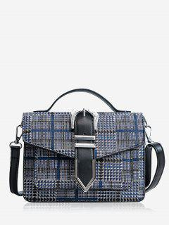 Metallic Buckle Crossbody Bag With Handle - Blue