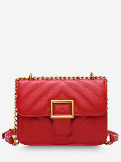 Rhombus Grid Crossbody Bag - Red