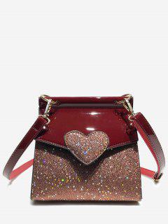 Minimalist Sequined Chic Crossbody Bag - Red