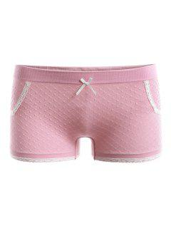 Lace Insert Boyleg Panties - Pink