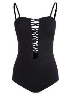Cami Lattice Bodysuit - Black M
