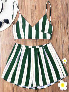 Striped Camisole With Wide Leg Shorts - Green L