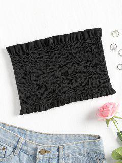 Smocked Bandeau Tube Top - Black S