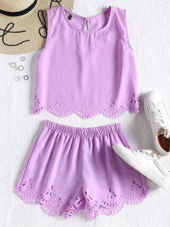 Sleeveless Laser Cut Top And Shorts Set - Lavender L