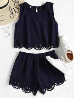 Sleeveless Laser Cut Top And Shorts Set - Midnight Blue L