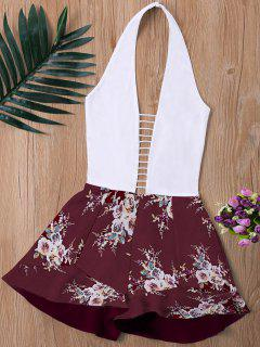 Ladder Low Cut Halter Romper - Wine Red Xl