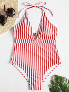 High Leg Striped Cut Out Plus Size Swimsuit - Red With White 3x