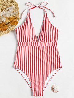 High Leg Striped Cut Out One Piece Swimsuit - Red With White M
