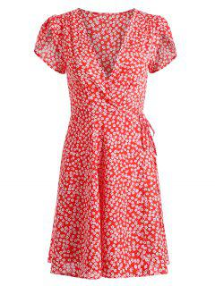 Tiny Floral Wrap Mini Dress - Red M