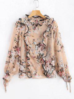 Frilled Floral Print Sheer Chiffon Blouse - Pink L