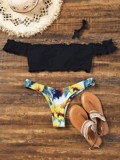 Sunflower Off Shoulder Lettuce Hem Bikini - Black M