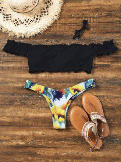 Sunflower Off Shoulder Lettuce Hem Bikini - Black S